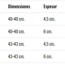 Dimensiones Cojín flotación líquida Prim