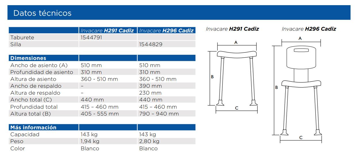 INVACARE CADIZ H296 silla de ducha