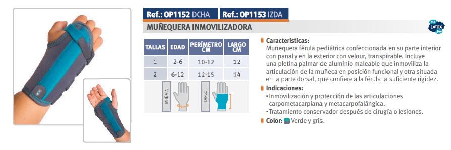 Muñequera inmovilizadora palmar pulgar Orliman OP1152, OP1153